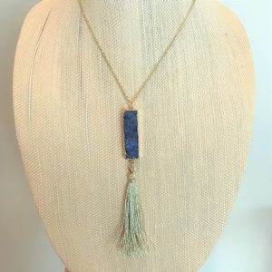 Jewelry - Royal Blue & Gold Druzy Bar & Tassel Necklace